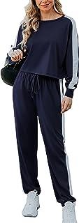 Chriselda Conjunto de 2 piezas para mujer de manga larga con camiseta corta y pantalones con cordón