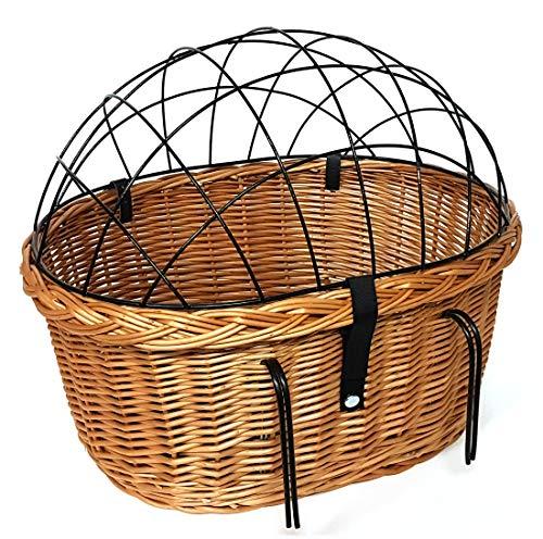 Tigana XXL Fahrradkorb Hundekorb für Lenker Weide oval mit Gitter 56 x 44 cm (N-S) + Kissen