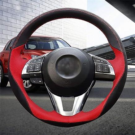 LUOERPI Cubierta del Volante roja Negra Cosida a Mano, para Mazda CX-5 CX5