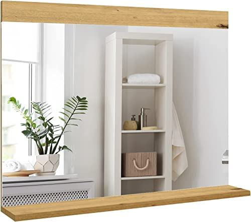 discount CHARMAID Wall Mounted Bathroom Vanity Mirror with Shelf, high quality 36''x 24'' Makeup Mirror, Made in Italy, Hanging Frameless Rectangle Wall Mirror for Bathroom, Washroom, Entryway, Bedroom online (Oak) online