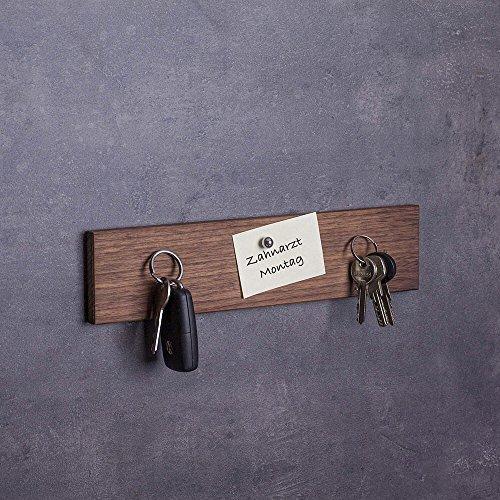 Woods Schlüsselbrett Holz magnetisch Nuss-Holz I Schlüsselablage I magnetische Messerleiste I Wanddekoration aus Holzhandgefertigt in Bayern I Schlüssel Aufhänger Home I Schlüsselhalter 30 cm