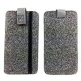 handy-point 5,0'' Filztasche Tasche Hülle aus Filz für Samsung, iPhone, Sony, Lenovo Moto, Huawei, Alcatel, Gigaset, Medion, Neffos, Geräte mit Max.14,2x7,3xx1cm (Grau mit Streifen)