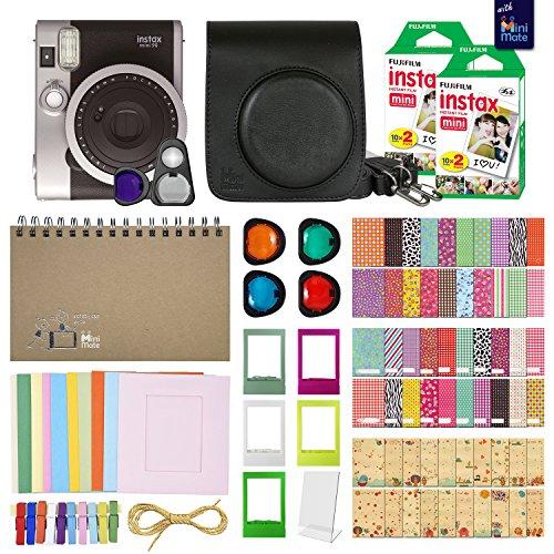 Fujifilm Instax Mini 90 Neo Classic Instant Film Camera (Black) with 40 Instant Film + MiniMate Accessory Bundle. PU Leather Case, Frames, Retro Photo Album, Selfie Lens, Colored Filters and More
