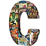 Marvel Retro C' 10 inch with Printed Comic Book Panels and Covers, Recycled MDF Wood Alphabet Letter Edge Home Products 10 by 1 inch Red Blue Yellow