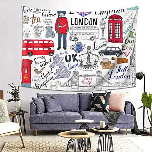 PATINISA Tapiz de Regalo,I Love London Double Decker Bus Cabina telefónica Cabina Corona del Reino Unido Big Ben,Tapiz Bohemio diseño para Colgar en la Pared,Sala de Estar Dormitorio 80x60in
