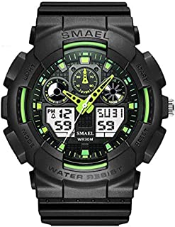 Watches for Men Mens Watches Men Digital Analogue Waterproof Military Big Face Sports Luminous Timer Black Green Blue Wrist Watch Rubber Date Calendar Watches for Men Fashion Casual Wrist Watches