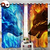 Sleepwish Fire Ice by JoJoesArt Wolf Curtains for Windows 3D Animal Panels Blackout Shades Men Curtains Grommet Curtain (2 Panels, 52x84 Inch, Grommet Top)