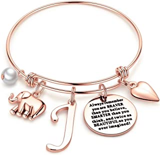 M MOOHAM Elephant Gifts for Women Girls, Rose Gold Initial Elephant Charm Bracelets for Women Girls Friends Mom Daughter B...