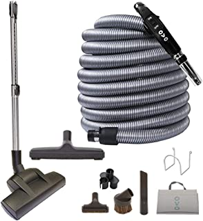 OVO Central Vacuum Deluxe Plus Kit, With 40ft Low-Voltage hose, ON/OFF Control at the handle Air Driven carpet beater, 12'' floor brush and accessories, Black and grey