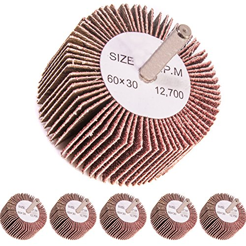 5x Coarse 80 Grit Flap Wheel Sanding Drill Bits - 6mm Shank - Abrasive Paint/Metal Remover
