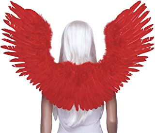 FashionWings TM Red Open Swing V Shape Costume Feather Angel Wings Adult Unisex