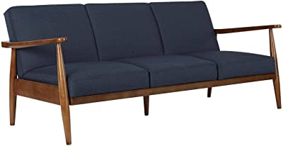 Mid-Century Modern Design Futon, Linen Upholstery with Wood Frame, Sofa and A Sleeper, Convertible, Upholstery, Easy Assembly, Modern Living Room, Sturdy and Durable for Long-Lasting use, Blue Color