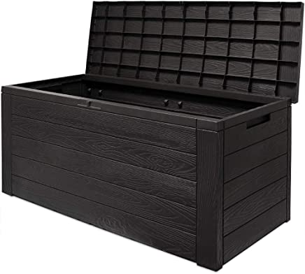 Auflagenbox Woody | Holzoptik Deckel klappbar 120x46x57cm | Kissenbox Gartenbox Garten Truhe Tischtruhe | Modellauswahl