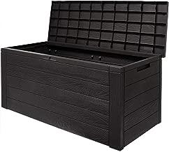 Auflagenbox Woody Holzoptik Deckel klappbar 120x46x57cm Kissenbox Gartenbox Garten Truhe Tischtruhe