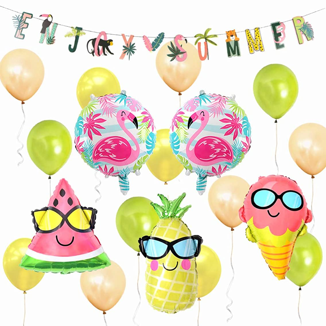 ETLEE Summer Party Decoration - Enjoy Summer Banner & Flamingo Foil Balloons & Latex Balloons for Tropical Themed Party Decorations