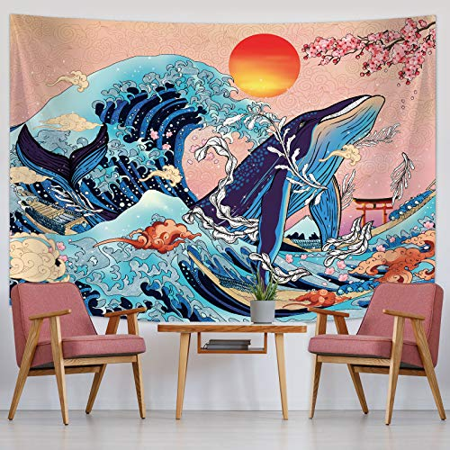 Japanese Wave Wall Tapestry Ukiyo-e Tapestry Wave Koi Whale Wall Tapestry Wall Decoration with Sunset Cherry Blossom Art Nature Background for Living Room Bedroom Dorm Wall Decor (78.7 x 59.1 Inch)