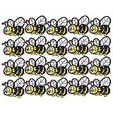 EVTSCAN Pegatinas de tela bordadas con abejas, 20 piezas Pegatinas de tela bordadas Parches de hierro de insectos de abeja Ropa Mochila Accesorios de ropa