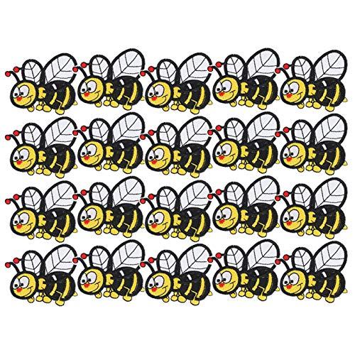 Pegatinas de tela bordadas de abeja, 20 piezas pegatinas de tela bordadas parches de hierro de insectos de abeja ropa mochila accesorios de ropa