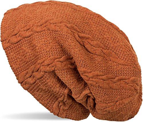 styleBREAKER warme Feinstrick Beanie Mütze mit Zopfmuster und Fleece Innenfutter, Slouch Longbeanie, Unisex 04024131, Farbe:Rostbraun