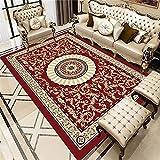WCCCW Retro étnico patrón Floral 3D impresión y teñido Dormitorio Dormitorio salón Estudio Mesa de café Ocio alfombra-80x120cm para Comedor, Dormitorio, Pasillo y Habitación Juvenil