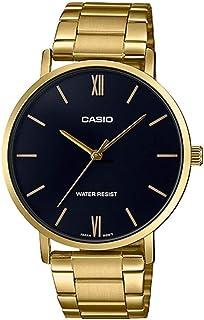 ساعة ستانلس ستيل دائرية انالوج بعقارب ومينا اسود بمؤشرات مختلفة اللون للنساء من كاسيو LTP-VT01G-1BUDF - ذهبي