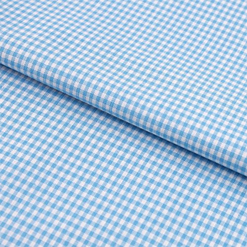 Hans-Textil-Shop Stoff Meterware Vichy Karo 2x2 mm Türkis Baumwolle - Für Landhaus, Deko, Nähen oder Basteln, Kariert mit Karomuster
