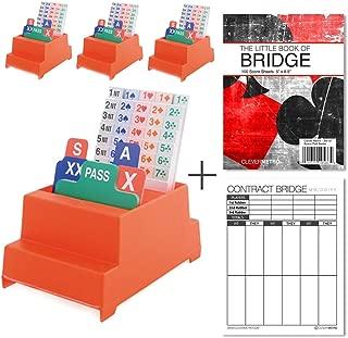 Jannersten Neo Classic (Red) - Set of 4 Bridge Bidding Boxes Cards + 200 Contract Bridge Score Sheets