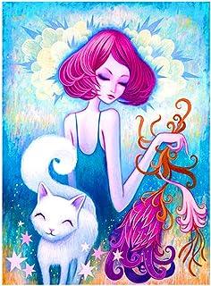 キャンバスアート壁ポスター アニメ漫画の女の子の猫 海报 绘画 帆布艺术 室内装饰 壁挂 墙壁海报 HD时尚海报