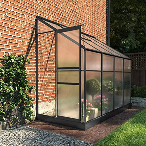 BillyOh Polycarbonate Aluminium Frame Lean-To Greenhouse Grey (4 x 8)