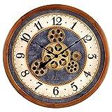 Bulova Gears in Motion Wall Clock, 12.8, Brown Cherry