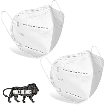 DALUCI N95 Reusable Anti Air Pollution Cotton Face Mask with 5 Layer for Men and Women - 2 Pack (White )