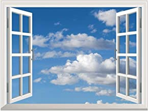 wall26 Removable Wall Sticker/Wall Mural - Blue Sky with White Clouds | Creative Window View Home Decor/Wall Decor - 36