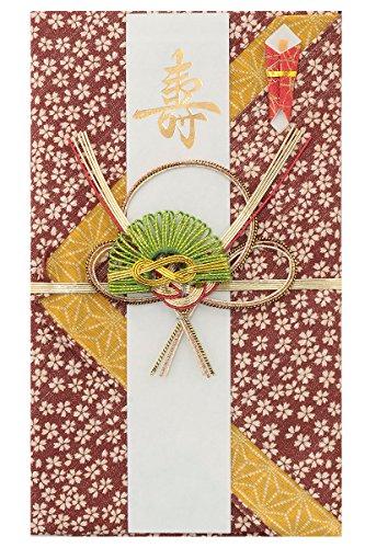 [キステ] 祝儀袋 水引 あわじ結び 和柄 金封 桜 モダン お祝い 小風呂敷 (エンジ)