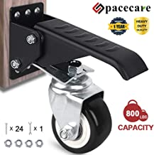 SPACECARE Workbench Casters kit 800Lbs Heavy Duty Retractable Workbench Stepdown Caster Wheels Adjustable Polyurethane Durable Steel Construction(Set of 4)