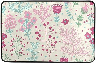 Not Slip Doormats Rugs Pink Spring Floral and Green Leaves Soft Foam Printing for Living Room Kids Bedroom Bathroom Door Mats 23.6x15.7 inch