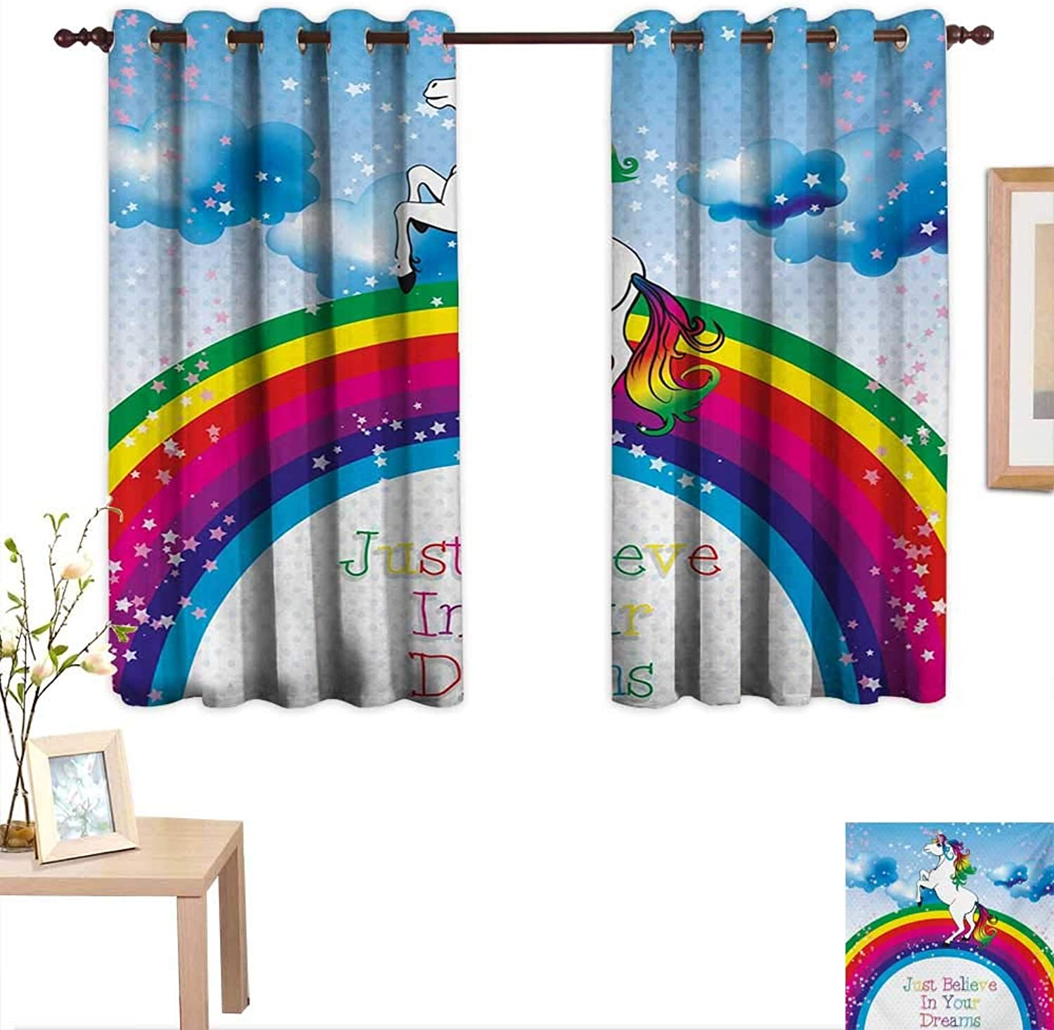 BlountDecor Kids Decor Curtains by Unicorn Surreal Myth Creature Before Rainbow Clouds Star Fantasy Girls Fairytale Image 55 x 45 ,Suitable for Bedroom Living Room Study, etc.