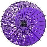和傘 和風傘 雨傘 桜吹雪 撮影道具 舞踊小物 油引き 赤 紫 青 防水 手作り 80*84cm