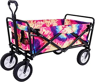 olyee Collapsible Outdoor Folding Wagon Cart, Heavy Duty Garden Tool Collection Utility Camping Grocery Canvas Sturdy Wago...