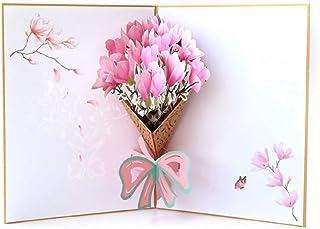 BC Worldwide Ltd fatto a mano 3D pop-up biglietto di auguri rosa magnolia madri giorno anniversario di matrimonio San Vale...