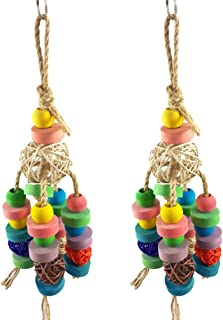 Balacoo 2pcs Bird Chewing Toy Bird Wood Block Rattan Ball Parrot Hanging Bite String Funny Bite Toy Educational Toy for Bi...