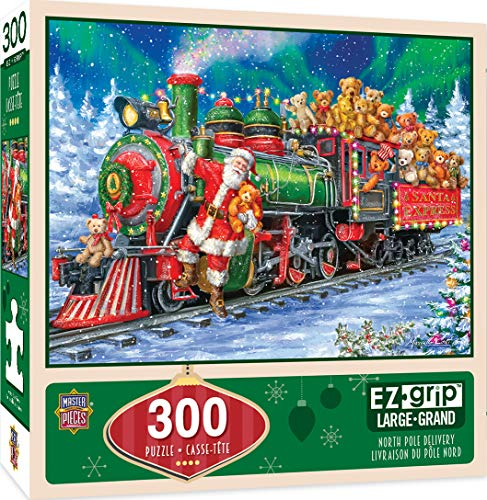 MasterPieces Holiday EZ Grip Extra Large Jigsaw Puzzle, North Pole Delivery, Featuring Art by Jenny Newland, 300 Pieces