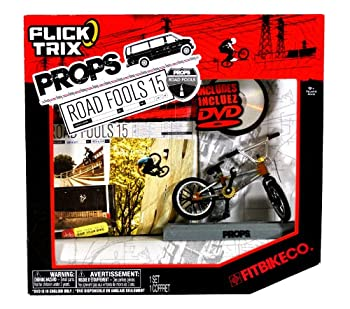 Spinmaster Flick Trix Fingerbike  Real Bikes Unreal Tricks  BMX Bicycle Miniature Set - FITBIKE CO with Display Base and DVD Props  Road Fools 15