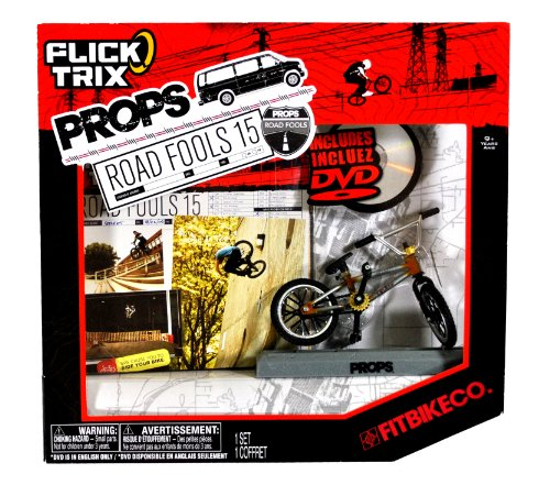Spinmaster Flick Trix Fingerbike 'Real Bikes, Unreal Tricks' BMX Bicycle Miniature Set - FITBIKE CO. with Display Base and DVD Props 'Road Fools 15'
