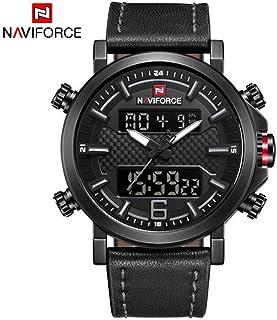 Naviforce 9135メンズ腕時計トップブランドの贅沢なクォーツ時計メンズカジュアルレザー日付防水スポーツウォッチリビオマスカレード2019