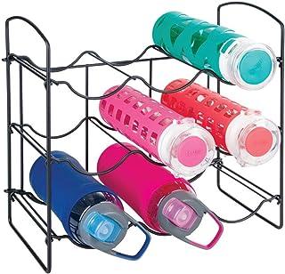 mDesign Metal Free-Standing Water Bottle and Wine Rack Storage Organizer for Kitchen Countertops, Pantry, Fridge - 3 Level...