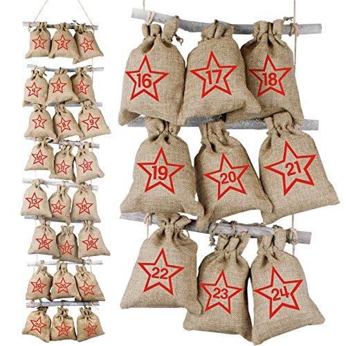 Adventino Adventskalender aus 24 Jutesäckchen (10 x 15 cm) mit Sternzahlen inkl. Strick-Leiter aus Holz zum Befestigen