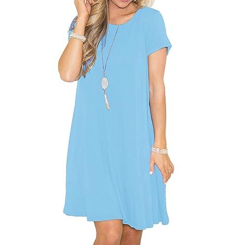 ed2e04a4e063 Viishow Women s Summer Basic Short Sleeve Casual Loose T-Shirt Dresses