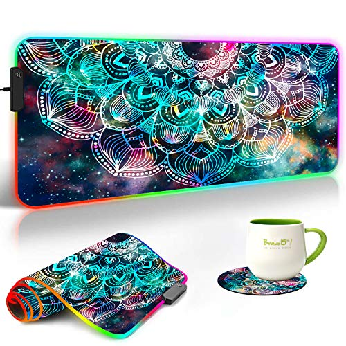 RGB Gaming Mouse Pad and Coasters Set,Mandala in Galaxy Extended Soft Led Mouse Pad with 10 Lighting Modes, Anti-Slip Rubber Base,Computer Keyboard Mouse Mat 800 x 300mm / 31.5×11.8 inches