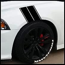 Fender Stripes Vinyl Hash Marks - Universal Racing Stripe Sticker Set for car/Truck (Matte Black)
