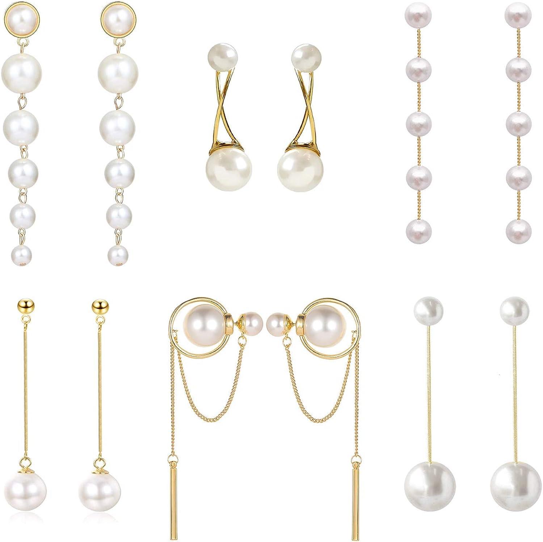 Big Simulated Pearl Long Tassel Drop Earrings for Women Double Sided Front Back Pearl Earrings Cross Imitation Pearl Dangle Earrings